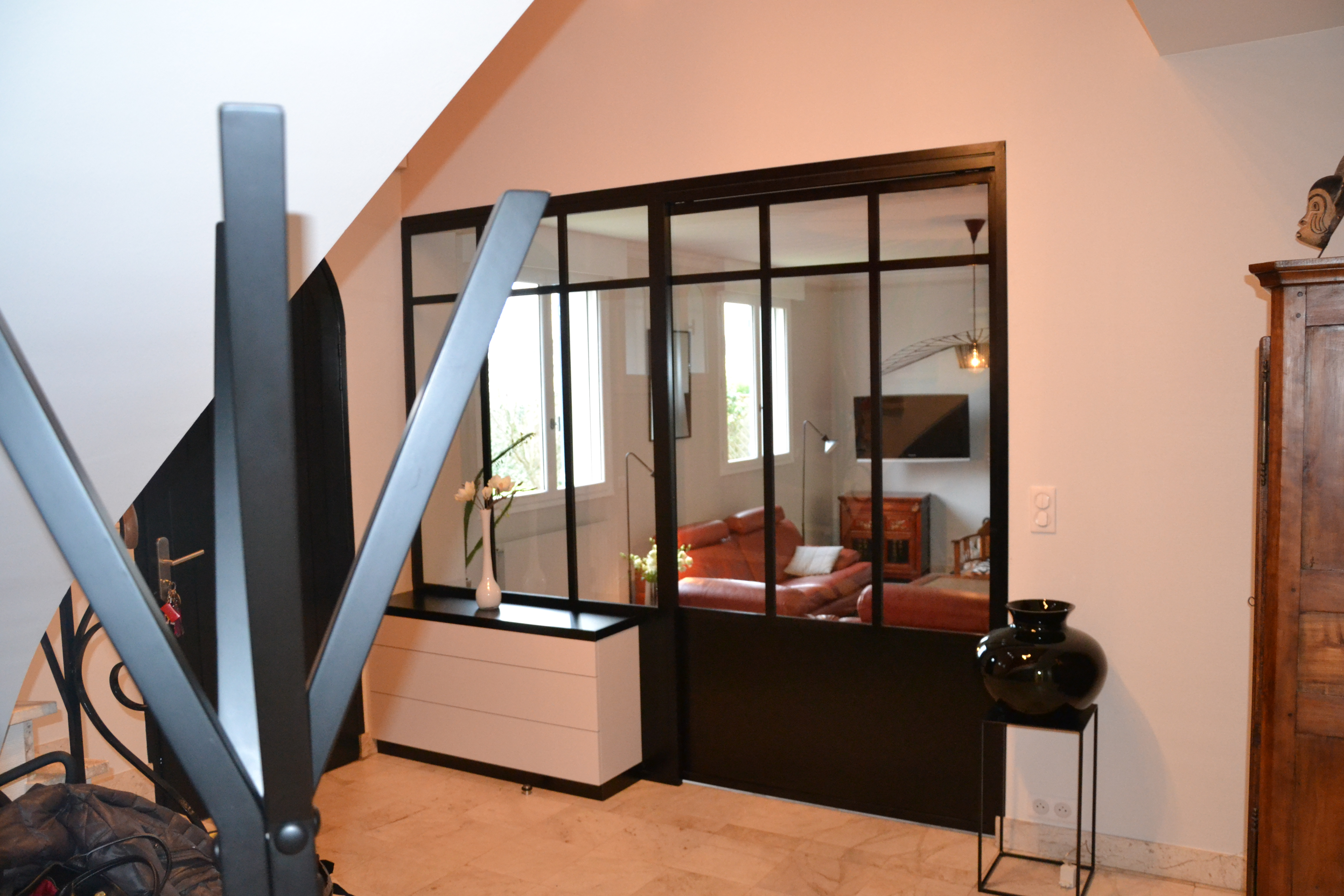 maison déco rouge et noire - 3 - geraldine fourny - decoratrice - Rezé - 44
